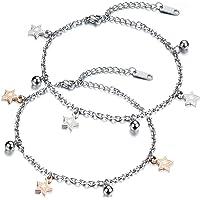 JewelryWe Cavigliera da Donna, con Pentagramma e Stella, in Acciaio Inossidabile, Argento e Oro Rosa