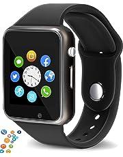 snowpack Genuine A1 Smart Watch Phone Camera SIM Card Pedometer Men Women Sport Smartwatch Compatible with Apple - Black