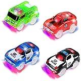 PROACC 4 Piezas Track Race Car (2 * Coche de policía, 1 * Coche de Carreras, 1 * Coche de camión de Bomberos), Circuito Coche