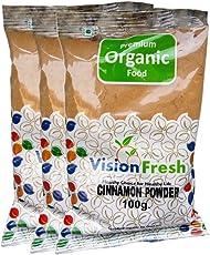 Vision Fresh Organic Cinnamon Powder (Dalchini) - 300 Grams - Pack of 3 (100 Gram Each)