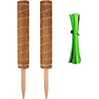 LUTER 16.5 inch 2 Pieces Coir Totem Pole with 16 Pieces Garden Cable Ties Coir Moss Stick for Home Garden Climbing Plant, Creepers, Plant Support Extension