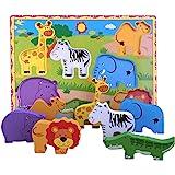 Lewo Träpussel djur bastant pussel förskolelärande pedagogiska leksaker för småbarn (7 st)