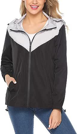 iClosam Women's raincoat waterproof lightweight color-blocking casual outdoor hooded jacket