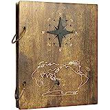 Amazon Brand – Umi Album Photo avec Couverture en Bois, pour 120Photos de 10x15cm, Motif Voyage de Christophe Colomb