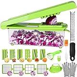 Mandoline Cuisine Acier Inoxydable - 24 Pcs Multifonction Coupe-légumes (Avec Boîtes De Rangement) Decoupe à Oignons Couper e