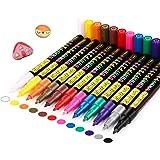 RATEL Marqueur Peinture Acrylique, 12 Couleurs Peinture Acrylique Stylos Acrylique Premium étanche Permanent Art Peinture Set