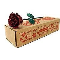 Rosa Eterna fatta di Ferro Battuto Rosso e Verde - Forgiata a Mano
