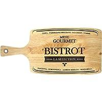 Promobo - Planche A Découper Bistrot Menu Gourmet Spécial Charcuterie Fromage Bois Massif Noir