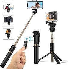 Selfie Stick Stativ mit Fernbedienung, BlitzWolf 4 in 1 Verstellbare Selfie-Stange Stab Monopod für Gopro Kamera iPhone X/ 8/ 7/ 7 plus/ 6s/ 6/ 5s Android Samsung und die meisten Smartphones, Ausfahrbar 360° bis zu 68 cm Verlängerbar (Schwarz)