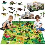 Figura de juguete de dinosaurio con juego de actividades Mat & Trees, juego educativo desmontable y ensamblado para crear un
