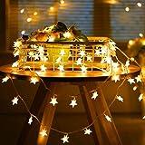 SUNNEST Guirnalda Luces Pilas, Luces LED Pilas, Guirnalda Luces Interior Habitacion 5m 50 LED de Alambre Guirnaldas Decoracio