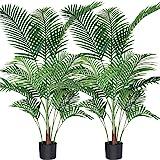 Fopamtri Palmier d'arec Artificiel 140cm Faux Palmier avec 15 Troncs, décoration intérieure et extérieure Moderne, Plantes en