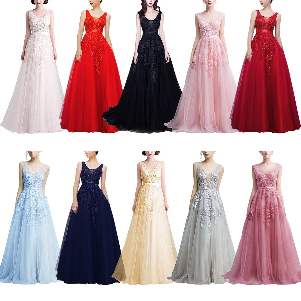 d7e400dce26cc IWEMEK Women's Bridesmaids Double V-Neck Lace Tulle Appliques Sleeveless  Wedding Evening Cocktail Prom Gowns Long Maxi Party Dress UK 6-28