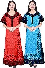 Mudrika Women Cotton Nighty, Gown, Sleepwear, Nightwear, Maxi - Soft and Stylish Night Suit, Cotton (Pack of 2 Pcs)