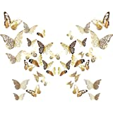 BETOY 24 Piezas 3D Mariposa Pegatinas de Pared Etiquetas Engomadas Mariposas Decoración de la Pared,3D Butterfly Stickrs Fash