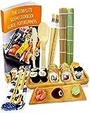 Kit de Préparation de Sushi 11 pièces – Préparer vos propres sushis à la maison – 2 nattes à rouler en bambou, 5 paires…