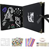 9pcs Set Album Photo Scrapbooking avec 80 Pages, DEEFSOUL Album Photo avec Boucle en Métal Amovible, Photo de Couverture D'al