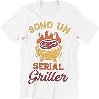 PiumeOro T-Shirt Unisex Divertente con Scritta Sono Un Serial Griller