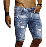 LEIF NELSON Herren Jeans Shorts Sommer Jogger Kurze Hose Jeanshose Chinos Cargo Bermuda Stretch Slim Fit LN9310