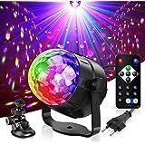 Boule Disco,Gvoo 6 Couleur Lampe de Scène Jeu de Lumiere Lumière Fête 5W LED 7 RGB à Commande Sonore Mini Projecteur Boule Ec