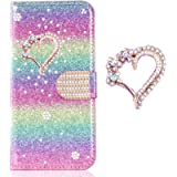 Loves Diamond Purse Compatible with Huawei P30 Pro,Sparkle Bling Glitter Leather Stand Function Flip Kickstand Magnetic…