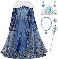 Monissy La Reine des Neiges Elsa Princesse Robe Fille Bleu Col Blanc Duvet Manche Longue Cape Tulle Glace Neiges Imprimé...