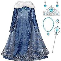 Monissy La Reine des Neiges Elsa Princesse Robe Fille Bleu Col Blanc Duvet Manche Longue Cape Tulle Glace Neiges Imprimé…