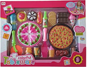 HALO NATION Kid's Plastic Pizza Cutting Kitchen Role Play Toy (Pink)