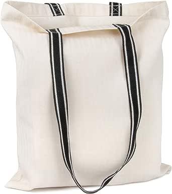Cottonbagjoe Einkaufstasche mit schwarzen Henkeln   38 x 42 cm   100% Baumwolle   Fischgrät-Design   Baumwolltasche, Jutebeutel, Stofftasche zum Bedrucken