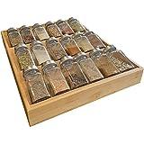 Simhoo Étagère à épices en bambou - Boîte de rangement inclinée pour bouteilles d'épices, tiroir de cuisine, salle à manger