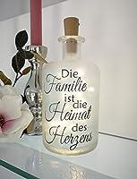 AScreativ Dekoflasche mit Beleuchtung -Familie Heimat des Herzens LED Leuchte Leuchtflasche Bottlelight Lichterkette...