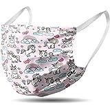 Mascherina bambini in cotone lavabile - riutilizzabile - comoda con elastici vari colori e fantasie (unicorni e nuvole)