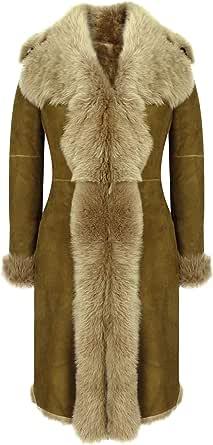 Infinity Cappotto Opaco Lungo da Donna Colore Cammello in Montone Fatto su Misura