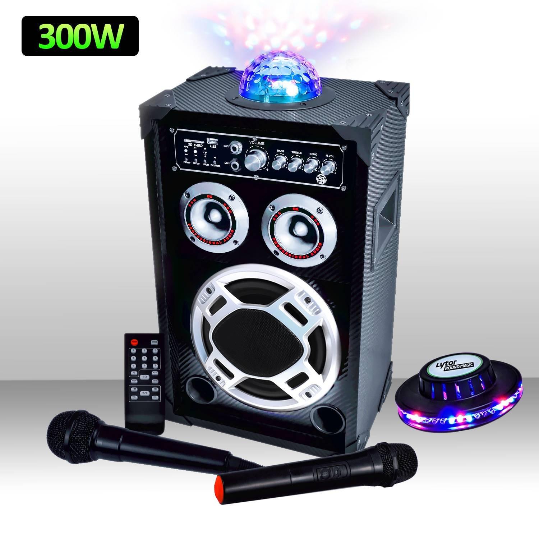 Enceinte karaoke 300W Dôme MAGIC + Micro VHF/Filaire USB/BT/SD + effet lumière OVNI