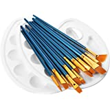ATMOKO 14 Pieces Paint Brushes, Artist Paint Brushes Set include 2 Palettes for Watercolor, Acrylic & Oil Paintings, Perfect