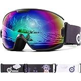 Odoland Skidglasögon för ungdomar, UV400-skydd och anti-dimlins för barn och barn, dubbelgrå sfärisk lins snowboard glasögon