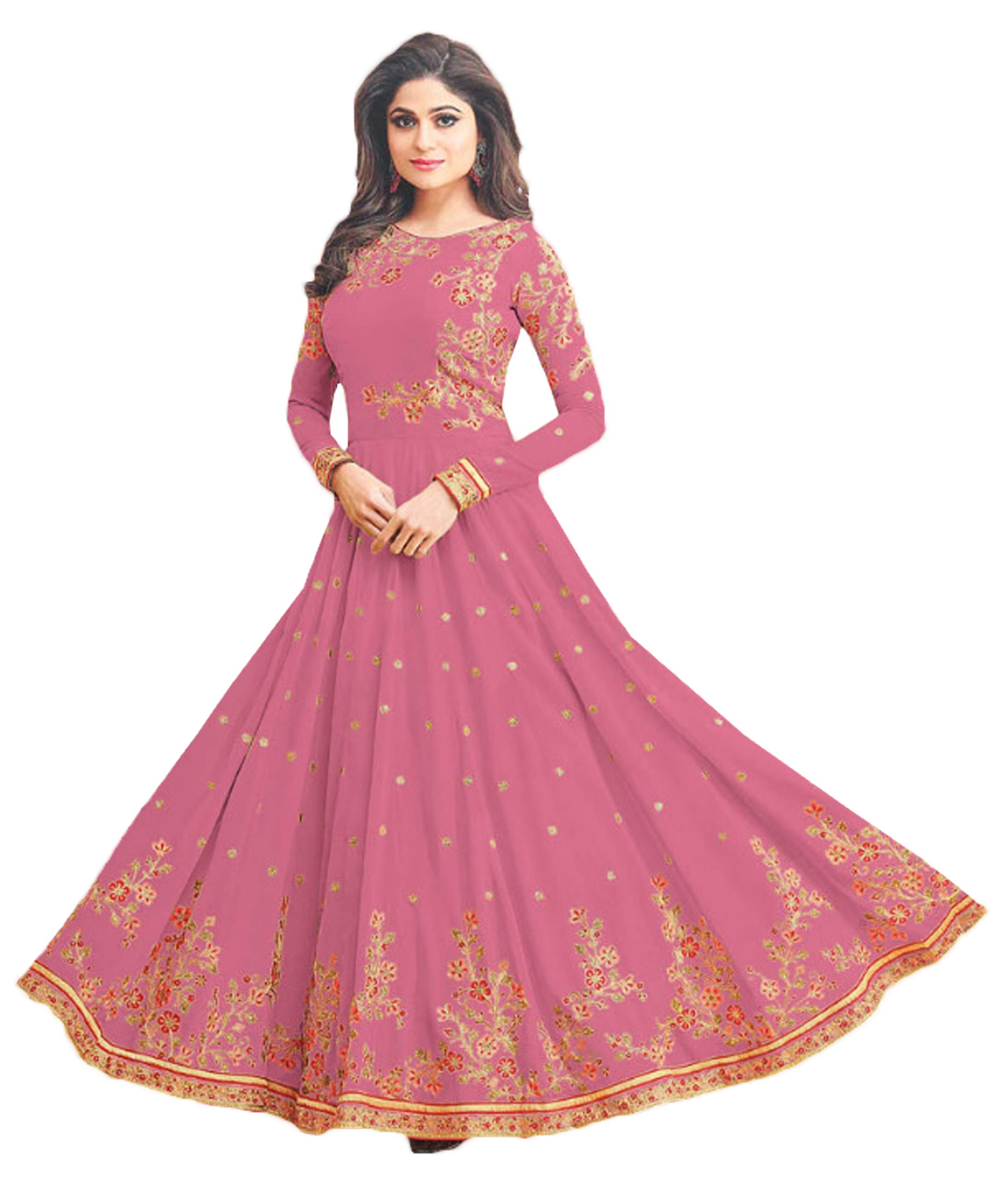 22082952a ... Embroidery Georgette Semi-Stitched Anarkali Salwar Kameez (Pink  Color
