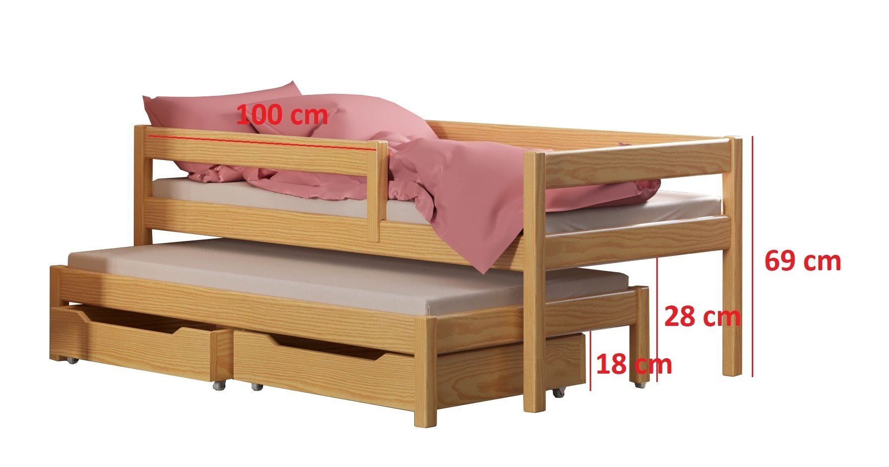 Maria single bed with trundle and drawers for kids made of solid wood - different sizes - 6 colours (Grey, 200x90 / 190x90) WNM Group Bed made entirely of exclusive solid pine wood, frame strength up to 300 kg Protective barrier for size 140x70 is 80cm for other sizes 105cm The bed is suitable for 10-12 cm mattresses. (Mattress is not included) 2