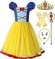 ReliBeauty Mädchen elastische Taille rückenfreie Prinzessin Kleid Kostüm