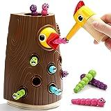Nene Toys – Gioco Educativo per Bambini e Bambine di 2, 3 e 4 Anni – Picchio in Legno con Tronco e Bruchi Colorati – Giocatto
