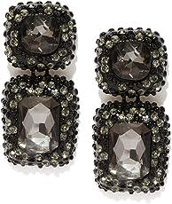 Crunchy Fashion Jewellery Stylish Fancy Party Wear Black Crystal Earrings for Women & Girls