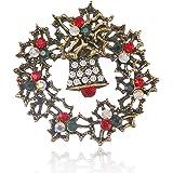 Gyn&Joy Green Red Austrian Crystal Round Wreath Bell Brooch Pin Christams Gift