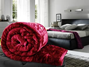 GOYAL'S Luxurious Embossed Korean Mink Single Bed Blanket (Acrylic and Polyester, Maroon)