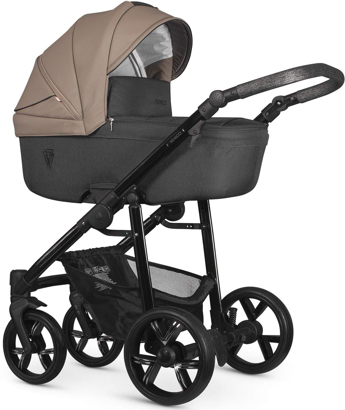 Venicci Valdi 2-in-1 Travel System - Cappuccino Venicci Carrycot: L 102cm W 61cm H 112 cm Age suitability: From birth to 6 months Seat unit: L 95cm W 61cm H 112cm Age suitability: From 7 to 36 months Chassis without wheels: L 82cm W 51cm H 28cm 1