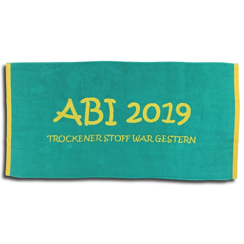 Jacquard Strandlaken Strandtuch ABI 2019 Türkis Lime Abitur Geschenk 80×160 cm