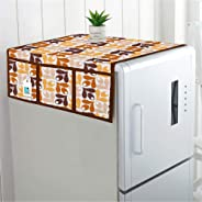 DECOTREE® Cotton Fridge Top Cover with 6 Utility Pockets- (Size : 21X39 Inches, Yellow)