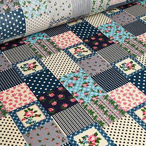 Lola - Baumwoll Popeline Stoff mit floral Dessin / Print - bedruckter Kinderstoff, Baumwollstoff, Kleiderstoff (per Meter) (Blumen-print Mit Popeline)