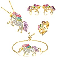 Whaline Unicorn Jewelry Set, Rainbow Rhinestone Crystal Necklace, Bracelet, Earring, Ring and Gift Box for Girls Gift Set
