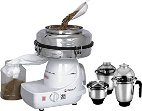 Cookwell Instagrind Mini Flour Mill with 1 Hp Isi Mixer Grinder and 3 Stainless Steel Jar