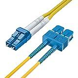 10Gtek OS2 SC à LC Câble Fibre Optique 5m, 9/125 Monomode Duplex Jarretière Optique LSZH pour SFP, Convertisseur de Média